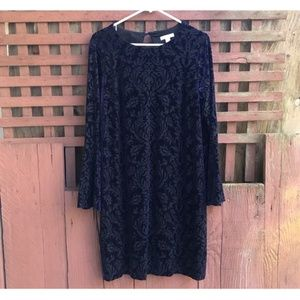 New York & Co. Navy & Black Velvet Dress Size L